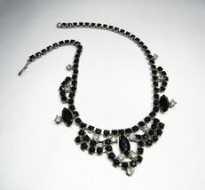 Estate Vintage La Rel Black Rhinestone Bib Necklace C2537 - $24.09
