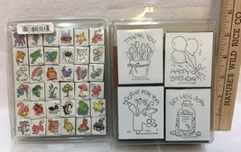 Stampin' Up Rubber on Foam 1996 Stamps All Occasion Set of Stamps also 36 Minis - $9.85