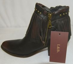 Lucky And Blessed SH 11 Dark Brown Leather Boots Fringe Metal Studs Size 6 image 6
