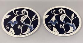 Fitz and Floyd Bristol Indigo Floral White Blue Salad Plate Set 2 Lot Dinnerware - $36.99