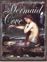 Mermaid Cove Mythical Fantasy Ocean Lore Feminine Decor Metal Sign - $24.95
