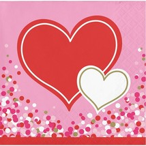 Happy Heart  Valentines Day Party 16 Ct Beverage Cocktail Napkins - $2.99