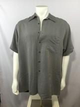 Van Heusen Mens Short Sleeve Button Up Shirt Gray Grey Soft Wear 17 XL Big - $29.40