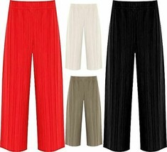 Womens Pleated Elasticated Waist Crinkle Culottes Ladies Stretch Baggy Shorts - $15.33