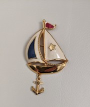 Sailboat brooch pin red white blue enamel - $15.00