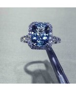 14K White Gold Finnish 4.00 Ct Cushion Cut Tanzanite Halo Engagement Ring  - $78.30