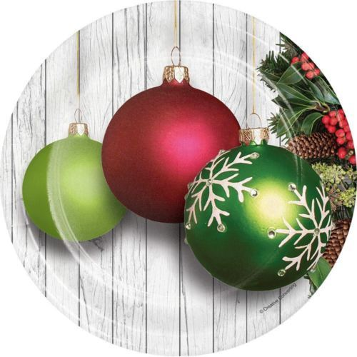 "Christmas Ornaments 8 Ct 7"" Dessert Plates"