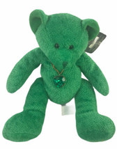 "Russ Berrie Bears 6"" Plush Of The Month May Green Heart Necklace - $15.84"