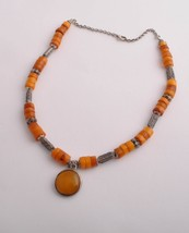 Handcrafted silver/genuine natural Amber Strand Necklace - $123.75