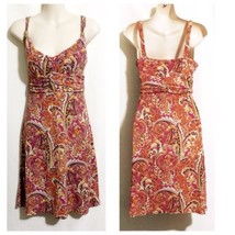 Loft Ann Taylor Dress Size 2 Pink Multicolored Paisley Ruched Waistline - $34.64