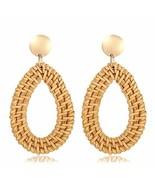 Rattan Woven Dangle Earrings Handmade Straw Wicker Braid Drop Earring Bo... - $9.17
