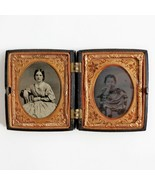 Antique Ambrotype Young mother daughter Hand Tinted 1850s Civil War era ... - $494.99