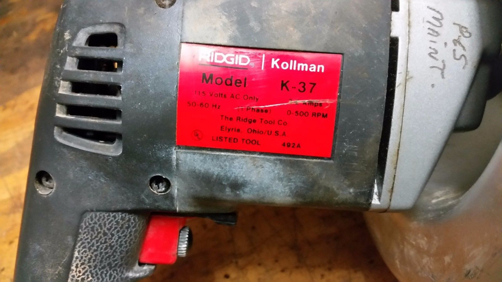 Ridgid Kollman Pipe And Drain Cleaning Model K-37 with 25 ft. cable.