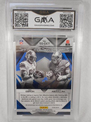 2015 Spectra SS-DE Ebronl/Abdullah Synced Swatches Prizm Relic GMA Gem Graded 10