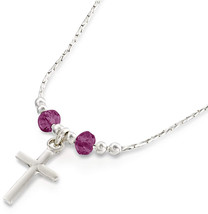 Girls Cross Pendant Made with Swarovski Purple Crystals 925 Sterling Sil... - $86.45
