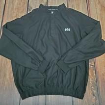 FOOTJOY Pullover Golf Windbreaker/Jacket Mens Large 1/4 Snap Zip Pocket Black - $39.55