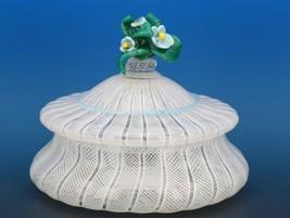Vintage Murano Glass White Zanfirico Covered Candy Box or Dresser Jar c.1950 image 2