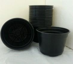 "5 inch Round Black Plastic Pots - SET OF 50 - (5"" x 3.6"")  flower pot Nu... - $20.90"