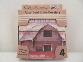 "CounterArt Absorbent Coaster Set (4) Farm to Table - 4"" square Barn - $13.95"