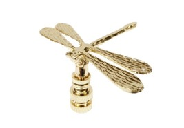 DRAGONFLY Polished Brass Lamp Finial-Highly Detailed Cast Metal - $13.00