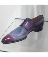 Handmade Leather Two Tone patina purple Oxfords for men, Custom shoes fo... - $159.99+