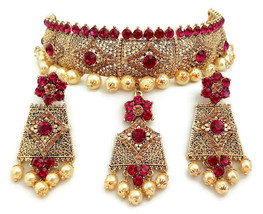 Indian Bollywood FuchsiaGoldPlated Fashion Rhinestone BridalJewelry NecklaceSet - $28.99