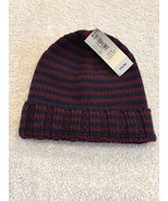NWT OLD NAVY Stripe Blue Maroon Knit Cap Hat Kids Size 0-6 M Boys Girls - $5.52