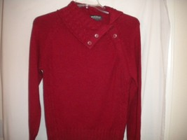 Woolrich Size Medium Ruby Red Cowl Neck Button Pullover Women Sweater - $23.36