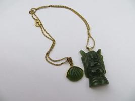 Vintage 50's Hand Carved Green Jade Buddha /Shell charm pendants Filigre... - $64.99