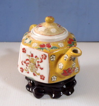 Vintage porcelain teapot hand carved wood stand used circa: late Qing Pe... - $58.00