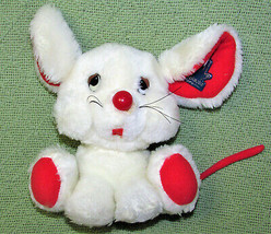 Vintage Applause Maxwell Mouse Stuffed Animal Baby 1981 White Red Plastic Tag - $24.75