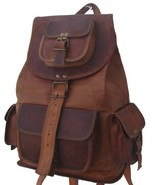"New 16"" Handmade Genuine Rustic Soft Leather Ladies Travel Backpack Ruck... - $62.65"