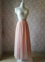 Blush Pink Pleated Tulle Skirt Tulle Pleated Maxi Skirt Elastic High Waist Band image 4