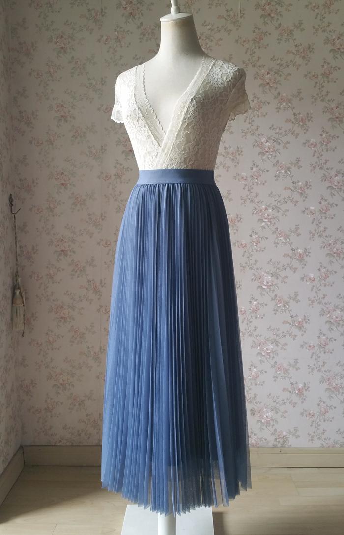 Dusty Blue Pleated Tulle Skirt Plus Size High Waist Pleat Bridesmaid Long Skirt