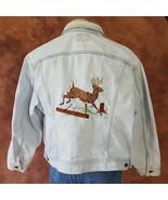 Vintage Lee Trucker Denim Jacket Mens Large Coat Light Wash Deer Buck St... - $64.30