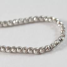 White Gold Bracelet 750 18k with Balls, Spheres Faceted, Heart, 18 cm image 2