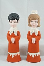 2 Vtg Atlantic Mold Christmas Choir Carolers Candle Holder Ceramic Figur... - $23.71