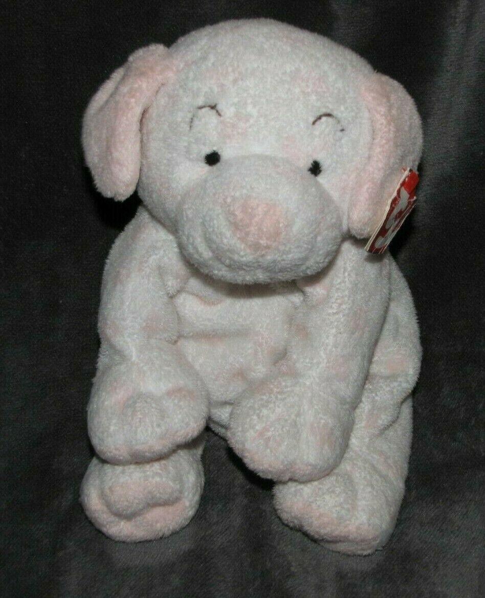 "TY Pluffies LOVESY White & Pink Puppy Dog Plush 2004 (soft sewn eyes) NEW 8"""