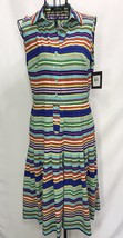 Ellen Tracy Knee Length Striped Multicolored Sleeveless Pleated Summer D... - $19.34