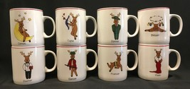 Santa's Reindeer Mugs Complete Set Of 8 LTD Commodities EUC - $34.99