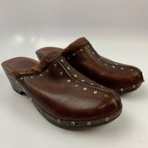 Michael Kors 7.5 US M Women Casual Clogs Shoes Brown Studded Wooden Mule Medium  - $24.72