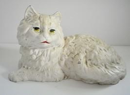 Hubley Mold Cast Iron White Fireside Cat Doorstop from Iron Art 1940s - $85.00