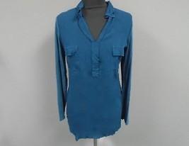 SPLENDID Teal Green Rayon Casual V Neck Long Sleeve Blouse W Pockets Sz ... - $29.69