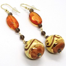 18K YELLOW GOLD EARRINGS OVAL AMBER, POTTERY CERAMIC BALLS HAND PAINTED IN ITALY image 2