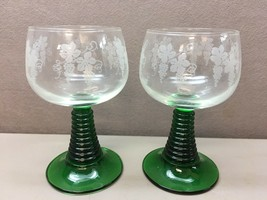 2 French Cristal D'Arques Roemer Green Beehive Stem Grape Vine Etched Wine Glass - $44.54