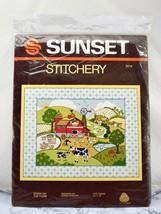 Vintage 1982 Sunset Stitchery Down on the Farm Crewel Kit - $18.95