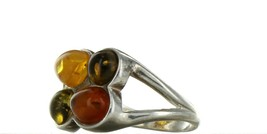 Ladies Size 7 Sterling Silver Natural Tri Color Amber Fashion Ring No. 2108 image 2