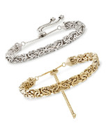 Adjustable Byzantine Bar Bracelet With Snake Chain White Gold Plated - $9.99