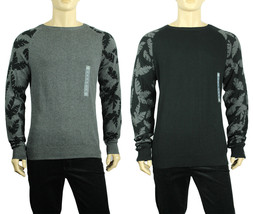 NEW MENS AMERICAN RAG CREW NECK RAGLAN LEAF BLACK GRAY COTTON PULLOVER S... - $18.99