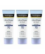 3 NEW Neutrogena Ultra Sheer Dry-Touch Sunscreen Lotion Spectrum SPF 70 ... - $26.46